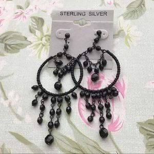 3/&15 SALE- Black Beaded Dangle Earrings